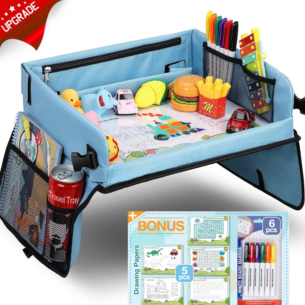 Upgraded Kids Travel Tray with Dry Erase Top Car Seat Travel
